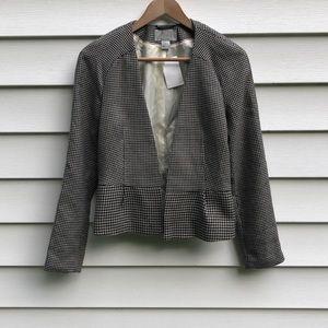 NWT H&M Houndstooth Peplum Style Open Blazer